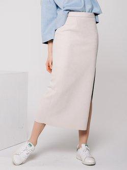 White Slit Sexy H-line Suede Midi Skirt