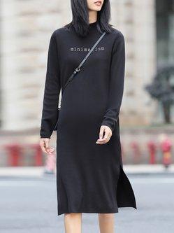 Black Letter Long Sleeve H-line Stand Collar Midi Dress