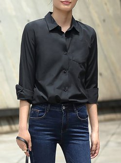 Black Plain Simple Pockets Long Sleeve Polyester Blouse
