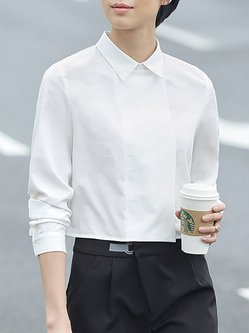 White Plain Simple Shirt Collar Asymmetric Cropped Top
