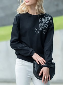 Black Crew Neck Printed Abstract Simple Sweatshirt