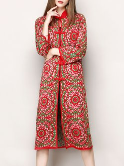 Red Stand Collar Jacquard Knitted Long Sleeve Coat