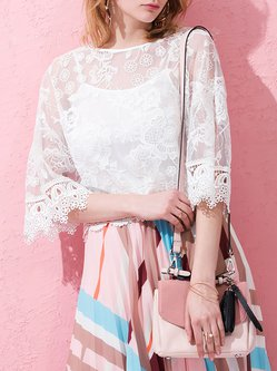White 3/4 Sleeve Two Piece Floral Blouse