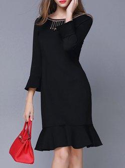 Black Elegant Ruffled Flared 3/4 Sleeve Midi Dress
