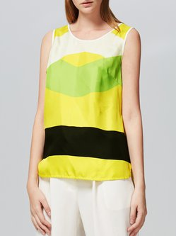 Yellow Silk Casual Stripes Printed Tanks And Cami