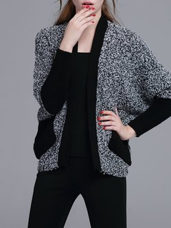 Gray Knitted Long Sleeve Pockets Cardigan