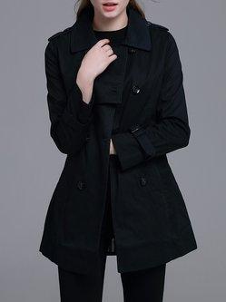 Dark Blue Elegant A-line Buttoned Pockets Trench Coat with Belt