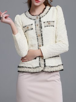 White Buttoned Sweet Cropped Jacket
