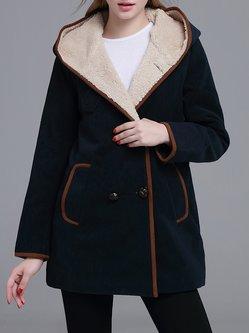 Navy Blue Long Sleeve Hoodie Polyester Coat