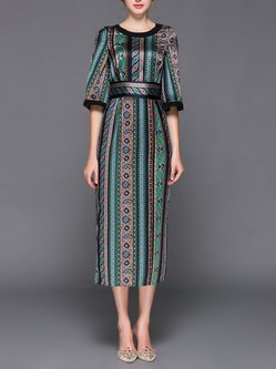 Green Slit Tribal H-line Half Sleeve Vintage Midi Dress