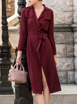 Long Sleeve Simple A-line Trench Coat with Belt