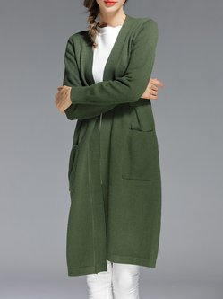 Army Green Casual Knitted Pockets Cardigan