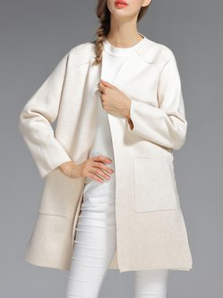 White Solid Knitted Bandage Simple Cardigan