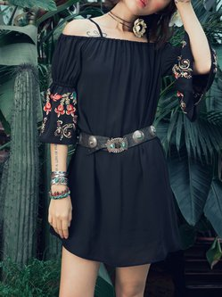 Black 3/4 Sleeve Floral Embroidered Chiffon Mini Dress