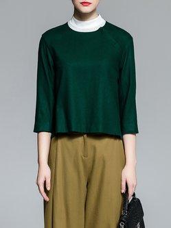Dark Green Wool Blend 3/4 Sleeve Cropped Top