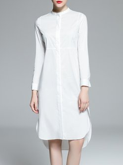 White Simple High Low Cotton-blend Shirt Dress