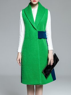 Green Lapel Wool Blend Simple Vest