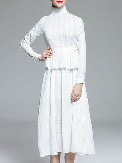 White Elegant A-line Peplum Midi Dress