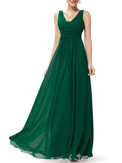 Green Ruched Sleeveless Solid Chiffon Evening Dress