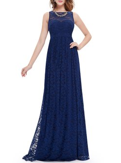 Navy Blue Floral Sleeveless Embroidered Evening Dress