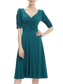 Elegant Solid Ruched Half Sleeve Polyester Midi Dress