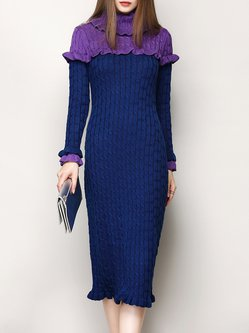 Dark Blue Elegant Knitted Midi Dress
