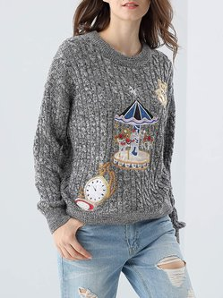Gray Long Sleeve Embroidered Sweet Sweater