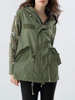 Green Hoodie Long Sleeve Pockets Coat
