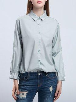 Gray Simple Cotton Shirt Collar Long Sleeve Blouse