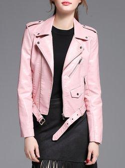 Pink PU Street Zipper Plain Leather Jacket with Belt