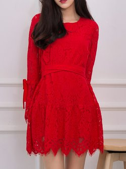 Red Lace Asymmetric Sweet Crew Neck Floral Mini Dress