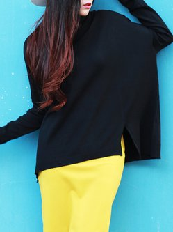 Black Slit Crew Neck Simple Knitted Plain Sweater