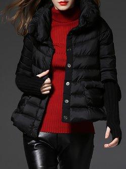 Black Turtleneck Long Sleeve Buttoned Pockets Down Coat