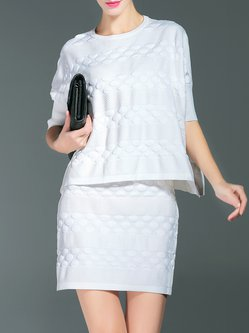 White Wool Blend Crew Neck Batwing Two Piece Sweater Dress