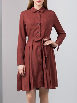 Burgundy Solid Silk-blend Simple Pockets Shirt Dress with Belt