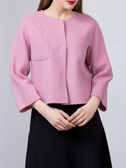 Pink 3/4 Sleeve Wool Pockets Simple Cropped Jacket