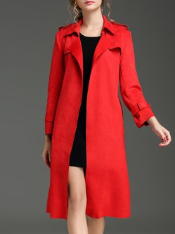 Red Lapel Plain Long Sleeve Suede Coat with Belt