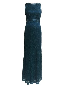 Green Sheath Floral Elegant Lace Evening Dress