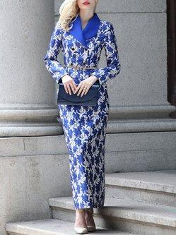 Blue Vintage Sheath Lapel Polyester Printed Maxi Dress