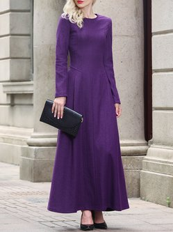 Simple Folds Plain Long Sleeve Maxi Dress