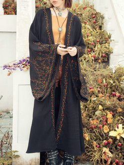 Black Floral Embroidered Batwing H-line Kimono