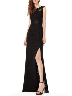 Black Slit Lace Sexy Backless Mermaid Evening Dress
