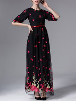 Black Embroidered Half Sleeve Mesh Evening Dress with Belt