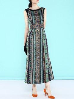 Green A-line Vintage Slit Tribal Sleeveless Midi Dress