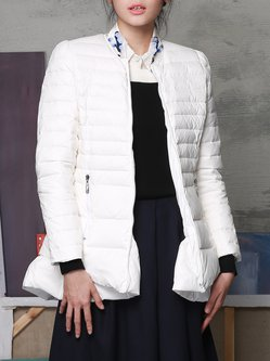 White Stand Collar Solid Elegant Down Coat