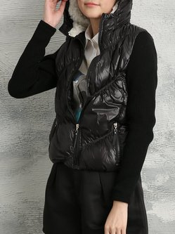 Black Long Sleeve Paneled Hoodie Down Coat