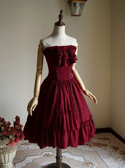Burgundy Suede Swing Vintage Strapless Midi Dress with Cravat
