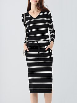 Black Sheath Long Sleeve Stripes Casual Sweater Dress