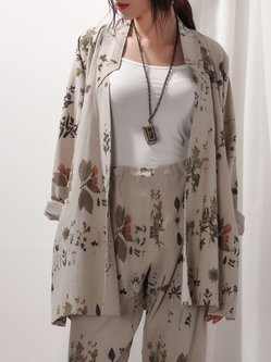 Apricot Floral-print A-line Linen Stand Collar Coat with Belt