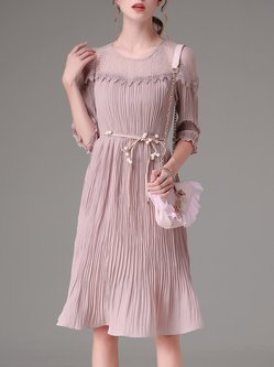 Pink Girly Pleated Crew Neck Chiffon Midi Dress with Belt